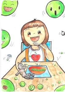 Niña comiendo feliz